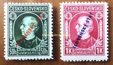 EBS Slovakia 1939 Cesko-Slovensko Hlinka overprints Michel 24A-25A MNH**