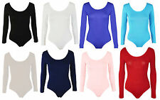 Womens Plus Size Long Sleeve Leotard Bodysuit Ladies Body Top Tshirt 8-28
