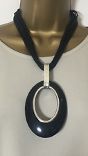 NEW LAGENLOOK JEWELLERY BLACK CHUNKY OVAL PENDANT BLACK MULTI NECKLACE B34