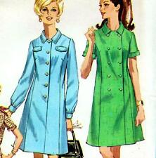 "Vintage 60s Mod DRESS Sewing Pattern UNCUT Bust 41"" Size 16 / 18 RETRO Coatdress"