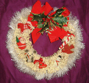 Handmade VINTAGE Component WHITE Pine CHRISTMAS WREATH w/ Plastic Flocked Orn.