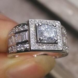 Men's Antique Fine Engagement Wedding Ring 14K White Gold 2.51 Ct Round Diamond