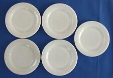 "5 Fire King White Restaurant Ware W-297 6.75"" Salad Plates"