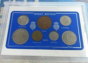 UK 1961 QUEEN ELIZABETH II 8 COIN SET IN CLEAR CASE OPTIONAL ROYAL MINT BOOK