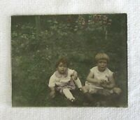 1920-30 Vintage Hand Tinted/Colored Photo~8x10~Children Sitting on Lawn~Charming