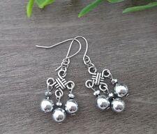 Metallic Silver Hematite Stone Chinese Lucky Knot Dangle Earrings ~  Feng Shui