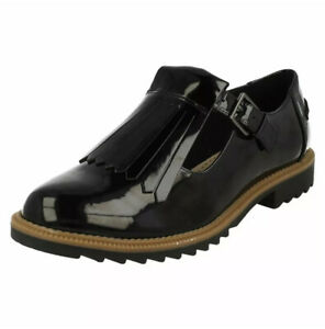 Clarks Black Patent Leather Griffin Mia Shoes UK Size 5.5 EUR 39.