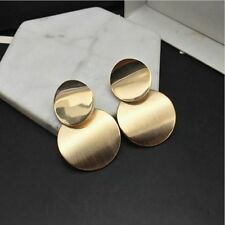 Gold Color Statement Geometric Circle Metal Pendient Earrings Drop Earring