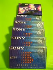 6 Blank Factory Sealed Audio Cassette Tapes, Sony, 5 HiFi 60, 1 CD-IT 74