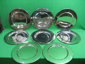 Set of Eight (8) Stainless Steel 12in Chargers International Silver Company