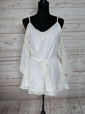 Band Of Gypsies Anthropologie Ivory Lace Cold Shoulder Shorts Romper Women's S