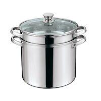 Multi-Cooker Set with Lid 8 Quart Pasta Steam Pot Stainless Steel Steamer Basket