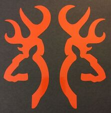 2 NEW ORANGE BROWNING DEER STICKER DECAL CAR FORD CHEVY DODGE VW HONDA MAZDA VW