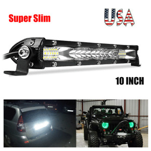 "10"" Slim LED Work Light Bar Combo Spot Flood Driving Off Road SUV Boat ATV US"