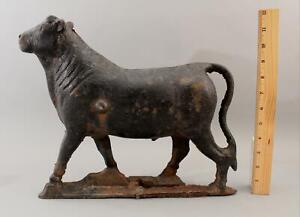 RARE Antique 19thC Cast Iron Figural Steer Bull Windmill Counter Weight NR