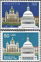 Schweiz 1442,USA2120 (kompl.Ausg.) FDC 1991 Schweiz-USA
