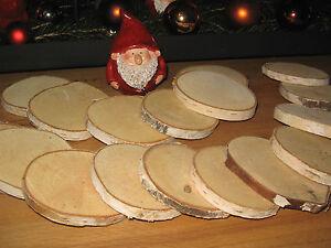 20 x Birkenscheiben Holz Birkenrinde Tischdekoration 6 cm Holzscheiben Alpstyle