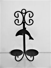 Black Wall Candle Holder Metal Dolphin Sconce Two 2 Candles New Boxed 14 Inches