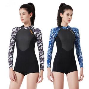Women's Wetsuit Long Sleeve Snorkeling Suit Keep Warm Surfing Swimsuit 1.5M