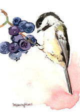 ACEO Limited Edition  - A berry lover, Chickadee, Art print