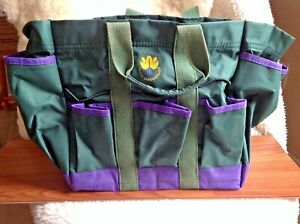 10 Pocket Cutco Garden Tools Bag Canvas Strap Green/Purple Bag Only