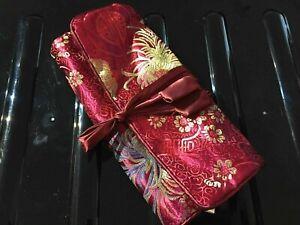 Silk Brocade Jewellery Roll  20 x 10  cm Rolled up - Burgundy JR011