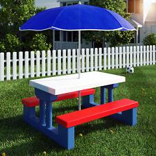 Kindersitzgruppe Sitzgarnitur Kinder Kindermöbel Garten Tisch Bank Sonnenschirm