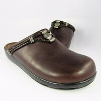 Minnetonka Moccasin Clogs-Mules Womens Size 8M Brown Leather Slides Flats Loafer