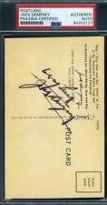 Jack Dempsey PSA DNA Coa Hand Signed 1940`s Restaurant Postcard Autograph