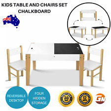 Artiss Kids Table and Chairs Set Chalkboard Toys Play Storage Desk Children Game