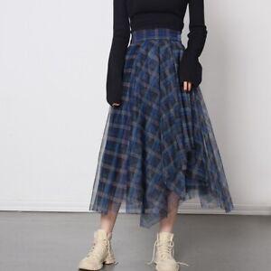Women A-line Plaid Mesh Skirt Blue Irregular Side Button High Waist Dress