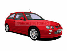 ROVER MG ZR CAR ART PRINT PICTURE (SIZE A4). PERSONALISE IT!