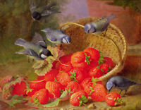 Oil painting Harriet Stannard - Still Life with Strawberries and Bluetits birds