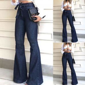 Womens High Waist Flared Denim Pants Ladies Wide Leg Bell Bottom Jeans Trousers