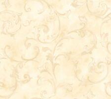 Fresco Scroll Butter Beige Wallpaper Ln7582