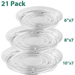 "20 PCS Clear Plastic Plant Saucer Drip Trays Plate Dish 6""/ 8""/10""/12"" Bulk"