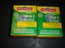 2 NATURE MADE OMEGA-3, 500MG, 60 GELS TOTAL,NEW SEALED READ COMMENTS