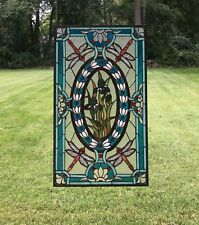 "Tiffany Style stained glass window panel Dragonfly & Iris Flowers,20.5"" x 34.75"""