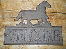 Cast Iron Horse Welcome Cowboy Plaque Sign Rustic Ranch Wall Decor Pony