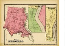 1870 map of West Springfield, Mass. from Atlas of Hampden County, w/family names