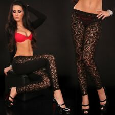 Ladies Black Sheer Lace front leggings One Size with soft vinyl stretch backs