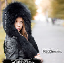 Black Russian Raccoon Fur Hat Eskimo Eskimoska with 2 original tails Hood chapka