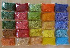 Perlen ROCAILLES Set 25 transparente Farben 1,78€/100g - 500g Glasperlen 2mm