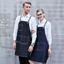 Unisex Denim Bbq Chef Uniforms Bib Leather Strap Barista Baker Bartender Apron