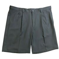 Haggar Mens Cool 18 Pro Golf Black Pleated Comfort Waist Shorts Polyester Sz 42W