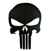 4 inches Car Grille Badge Emblem Billet The Punisher Logo Matte Black Powder