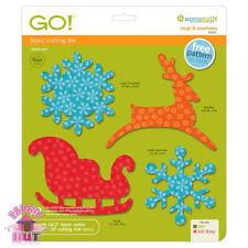 55322- Accuquilt GO Big Sleigh Snowflakes Holiday Winter Die Reindeer Snow Santa