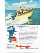 1955 Evinrude Outboard Boat Motor Family on small runabout  Vtg Print Ad