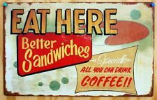 Eat Here Tin Sign Diner Food Sandwiches Coffee Shop Restaurant Vintage Look E42