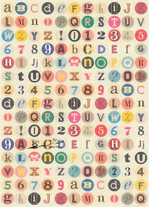 Geschenkpapier Bogen Buchstaben, Zahlen u. Zeichen  / G1